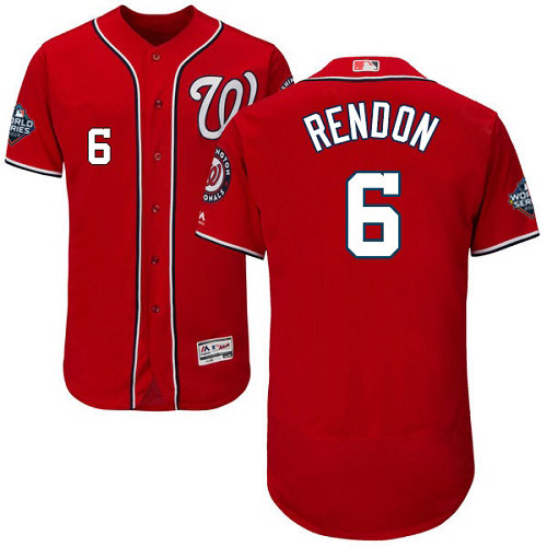 Men's Washington Nationals #6 Anthony Rendon Red 2019 World Series Bound Flexbase Authentic Collection Stitched MLB Jersey