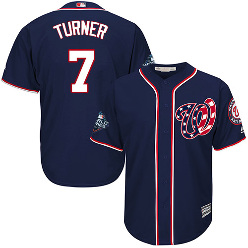 Men's Washington Nationals #7 Trea Turner Navy 2019 World Series Bound Cool Base Stitched MLB Jersey