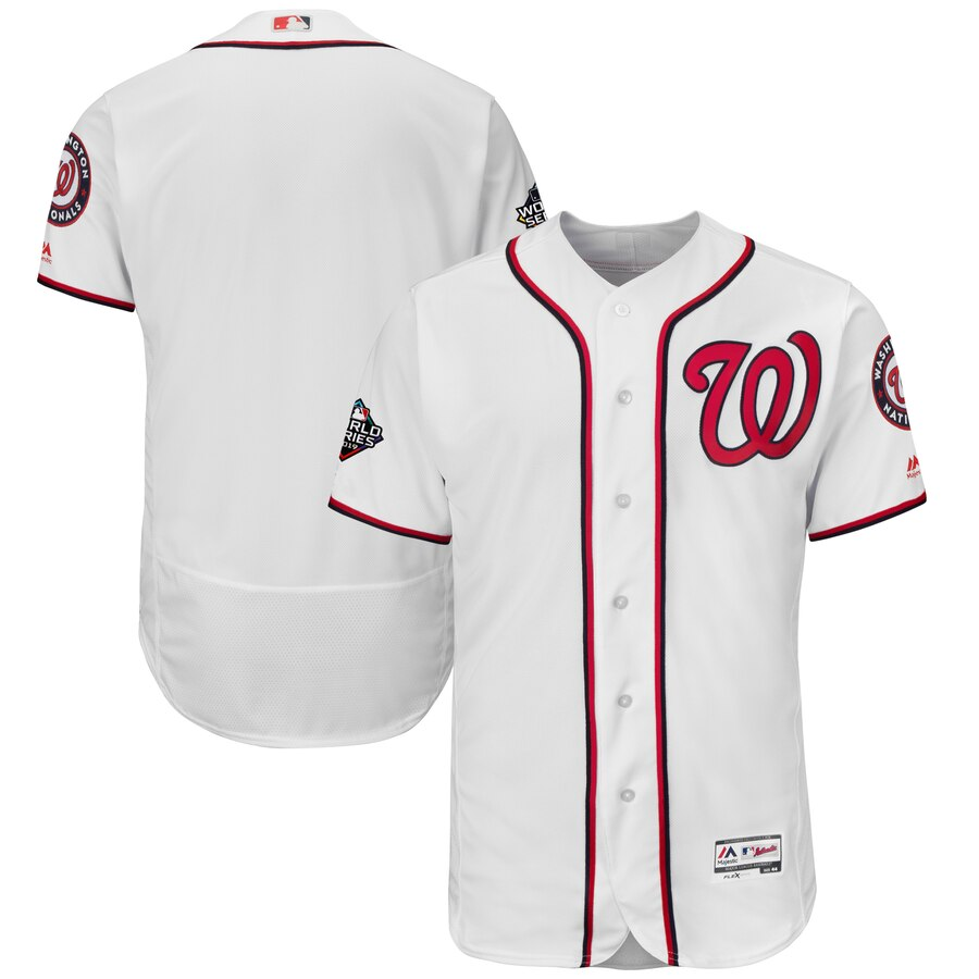 Men's Washington Nationals Blank White 2019 World Series Bound Flexbase Authentic Collection Stitched MLB Jersey
