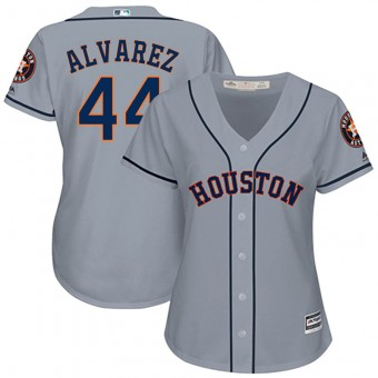 Women's Replica Houston Astros #44 Yordan Alvarez Majestic Cool Base Road Gray Jersey