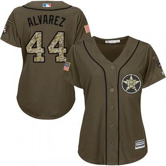 Women's Authentic Houston Astros #44 Yordan Alvarez Majestic Salute to Service Green Jersey