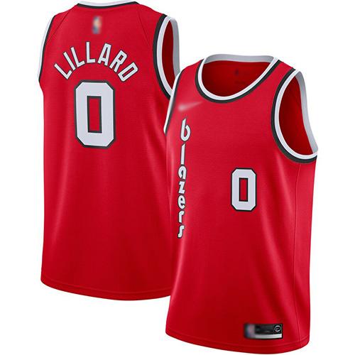 Blazers #0 Damian Lillard Red Basketball Swingman Hardwood Classics Jersey