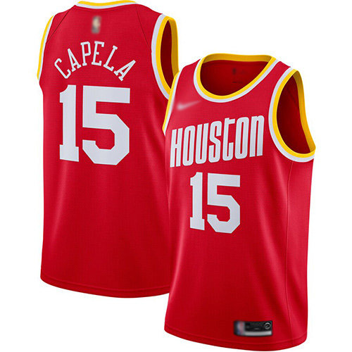 Rockets #15 Clint Capela Red Basketball Swingman Hardwood Classics Jersey