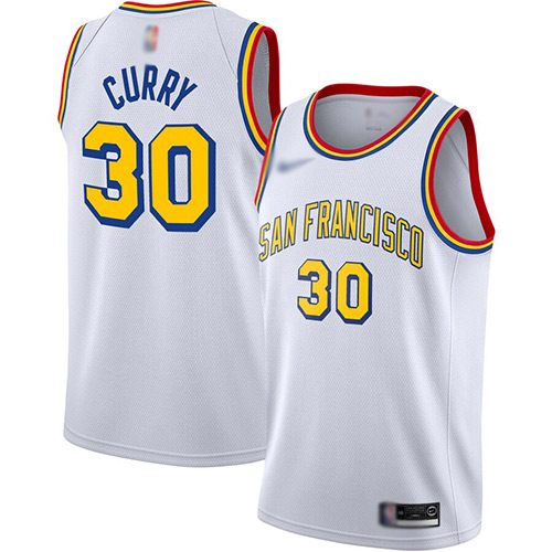 Warriors #30 Stephen Curry White Basketball Swingman Hardwood San Francisco Classic Edition Jersey