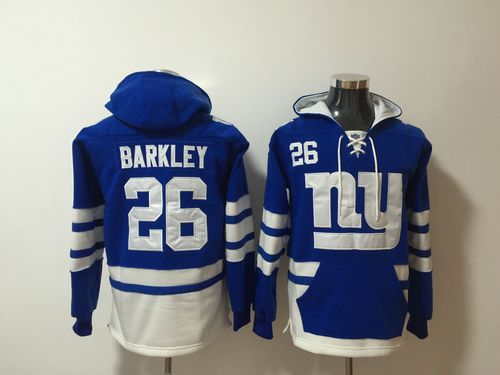 Men's New York Giants 26 Saquon Barkley Royal All Stitched Hooded Sweatshirt