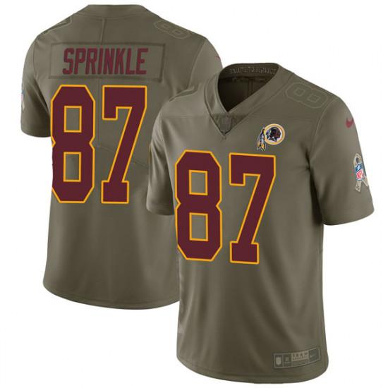 Men's Washington Redskins #87 Jeremy Sprinkle Limited Salute to Service Green Nike Jersey