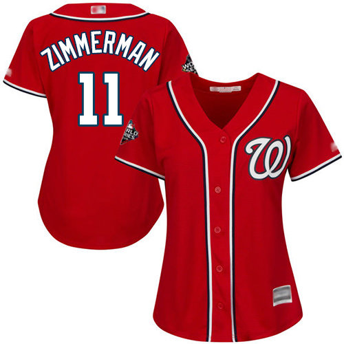 Nationals #11 Ryan Zimmerman Red Alternate 2019 World Series Bound Women's Stitched Baseball Jersey