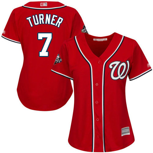 Nationals #7 Trea Turner Red Alternate 2019 World Series Bound Women's Stitched Baseball Jersey