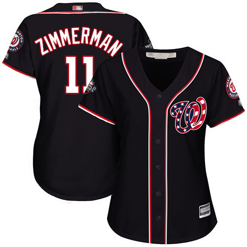 Nationals #11 Ryan Zimmerman Navy Blue Alternate 2019 World Series Bound Women's Stitched Baseball Jersey