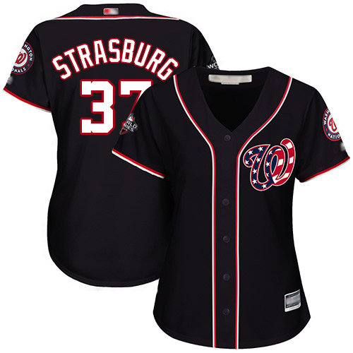 Nationals #37 Stephen Strasburg Navy Blue Alternate 2019 World Series Bound Women's Stitched Baseball Jersey