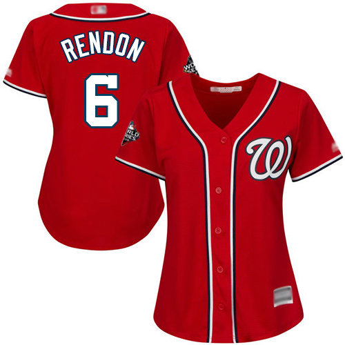 Nationals #6 Anthony Rendon Red Alternate 2019 World Series Bound Women's Stitched Baseball Jersey