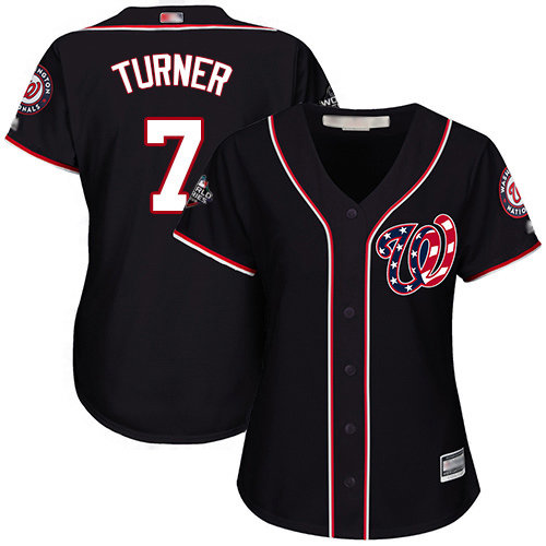 Nationals #7 Trea Turner Navy Blue Alternate 2019 World Series Bound Women's Stitched Baseball Jersey