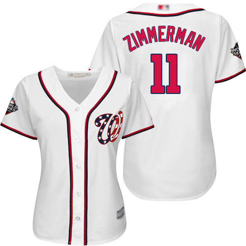 Nationals #11 Ryan Zimmerman White Home 2019 World Series Bound Women's Stitched Baseball Jersey