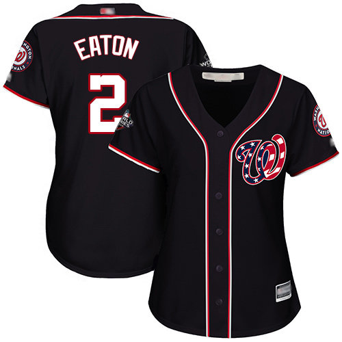 Nationals #2 Adam Eaton Navy Blue Alternate 2019 World Series Bound Women's Stitched Baseball Jersey