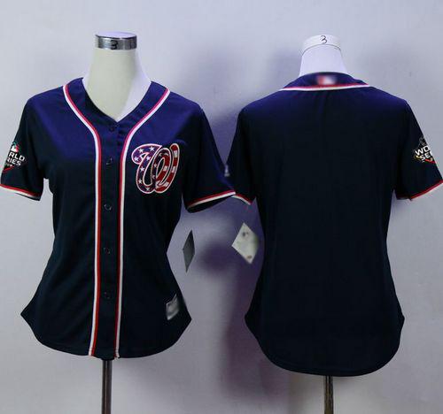 Nationals Blank Navy Blue Alternate 2 2019 World Series Bound Women's Stitched Baseball Jersey