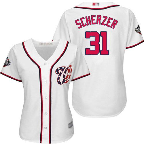 Nationals #31 Max Scherzer White Home 2019 World Series Bound Women's Stitched Baseball Jersey