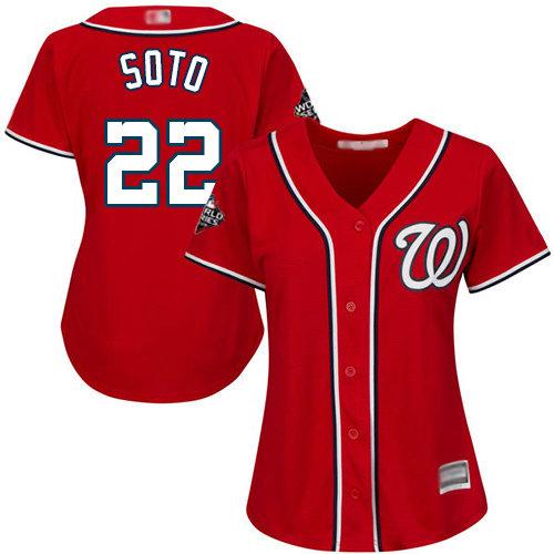 Nationals #22 Juan Soto Red Alternate 2019 World Series Bound Women's Stitched Baseball Jersey