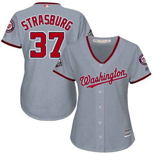 Nationals #37 Stephen Strasburg Grey Road 2019 World Series Bound Women's Stitched Baseball Jersey
