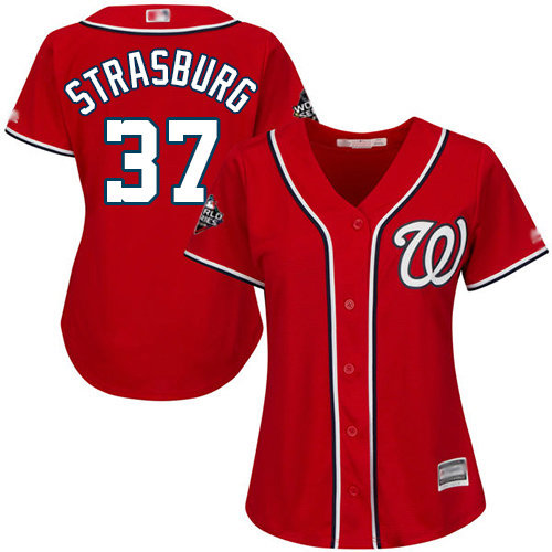 Nationals #37 Stephen Strasburg Red Alternate 2019 World Series Bound Women's Stitched Baseball Jersey