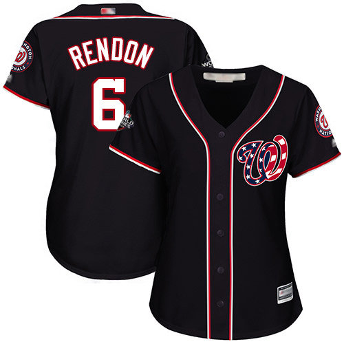 Nationals #6 Anthony Rendon Navy Blue Alternate 2019 World Series Bound Women's Stitched Baseball Jersey