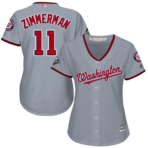 Nationals #11 Ryan Zimmerman Grey Road 2019 World Series Bound Women's Stitched Baseball Jersey