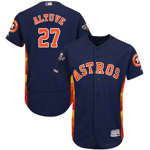 Astros #27 Jose Altuve Navy Blue Flexbase Authentic Collection 2019 World Series Bound Stitched Baseball Jersey