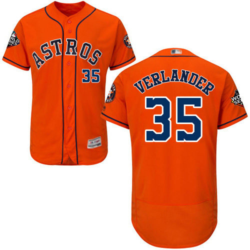 Astros #35 Justin Verlander Orange Flexbase Authentic Collection 2019 World Series Bound Stitched Baseball Jersey