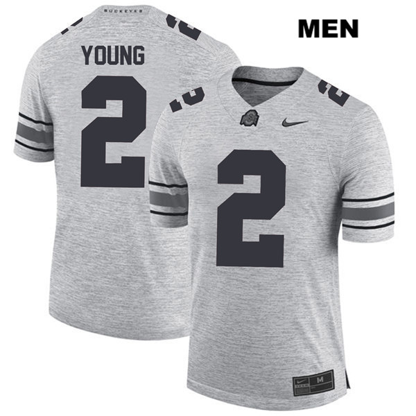 Mens Ohio State Buckeyes Stitched Authentic Nike #2 Chase Young Gray College Football Jersey