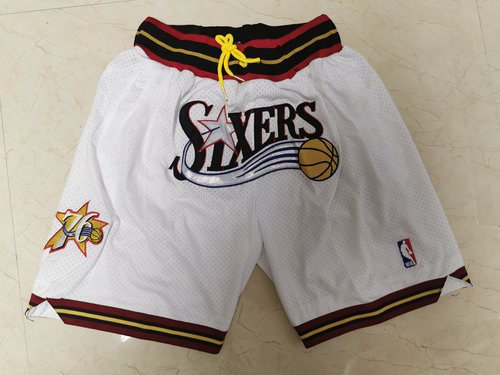76ers White Just Don Throwback Mesh Shorts