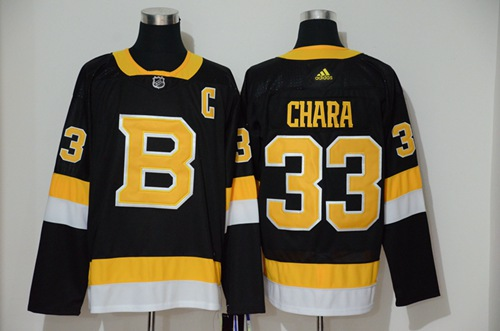 Men's Boston Bruins #33 Zdeno Chara Black Throwback Authentic Stitched Hockey Jersey