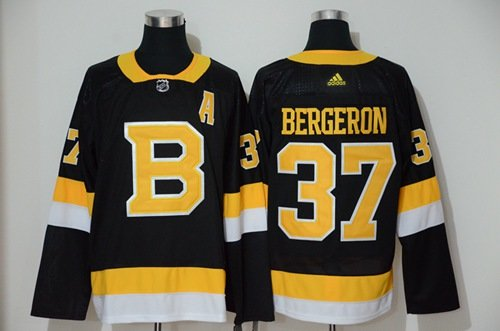 Men's Boston Bruins #37 Patrice Bergeron Black Throwback Authentic Stitched Hockey Jersey