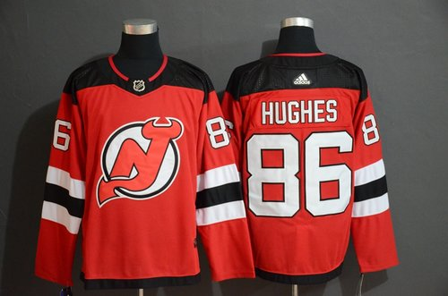 Men's New Jersey Devils 86 Jack Hughes Red Adidas Jersey