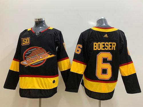 Men's Vancouver Canucks 6 Brock Boeser Black 50th Season Adidas Jersey