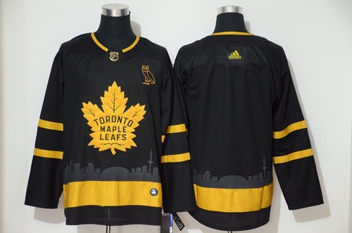 Men's Toronto Maple Leafs Blank Black Gold Adidas Jersey