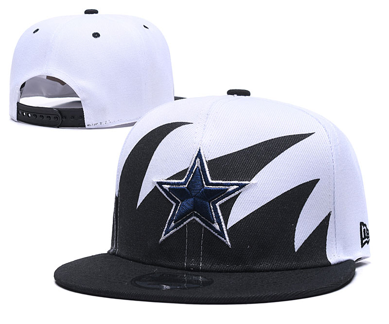 Cowboys Team Logo Black White Adjustable Hat