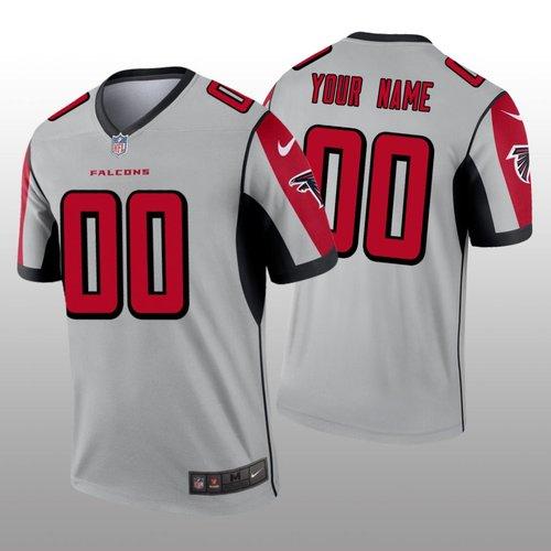 Men's Atlanta Falcons Custom Silver Inverted Legend Jersey