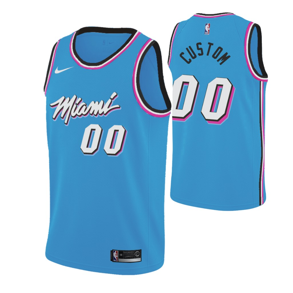 Nike Heat Custom 2019-20 Men's Blue Miami City Edition NBA Jersey