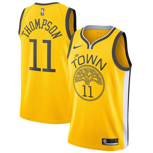 Nike Warriors #11 Klay Thompson Gold NBA Swingman Earned Edition Jersey