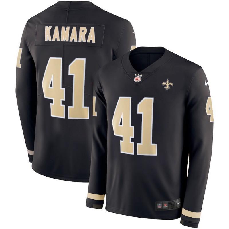 Men's Saints #41 Alvin Kamara Black Team Color Men's Stitched NFL Limited Therma Long Sleeve Jersey