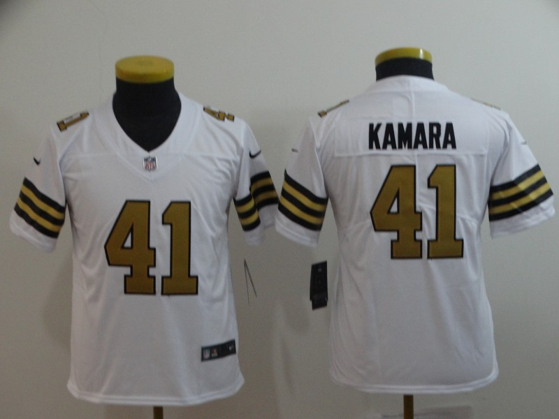 Youth Nike Saints 41 Alvin Kamara White Youth Color Rush Limited Jersey