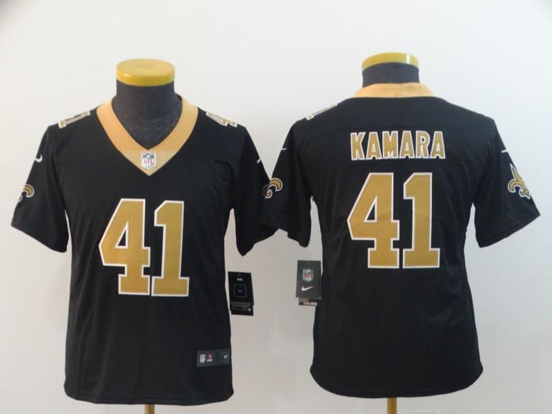 Youth Nike Saints 41 Alvin Kamara Black Vapor Untouchable Limited Jersey