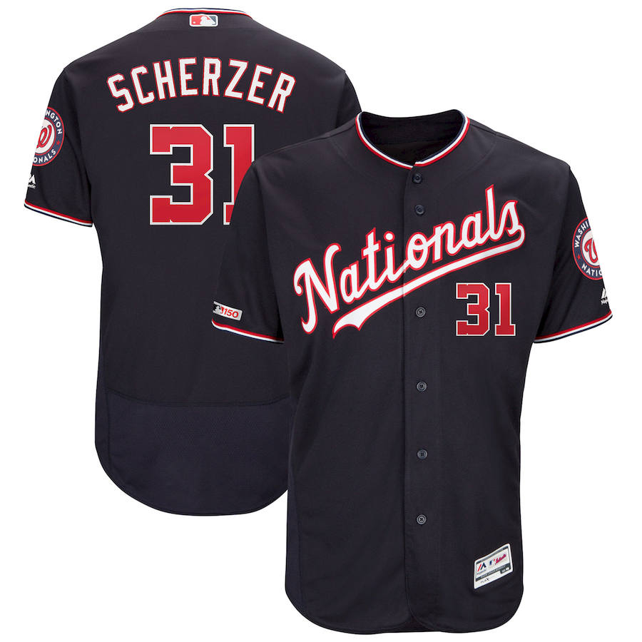Washington Nationals #31 Max Scherzer Majestic Alternate Authentic Collection Flex Base Player Navy Jersey