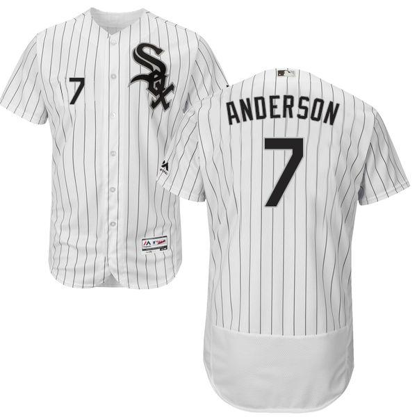 White Sox #7 Tim Anderson White(Black Strip) Flexbase Authentic Collection Stitched MLB Jersey