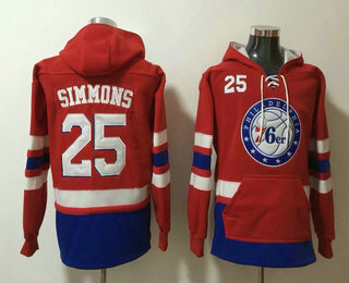 Men's Philadelphia 76ers #25 Ben Simmons NEW Red Pocket Stitched NBA Pullover Hoodie