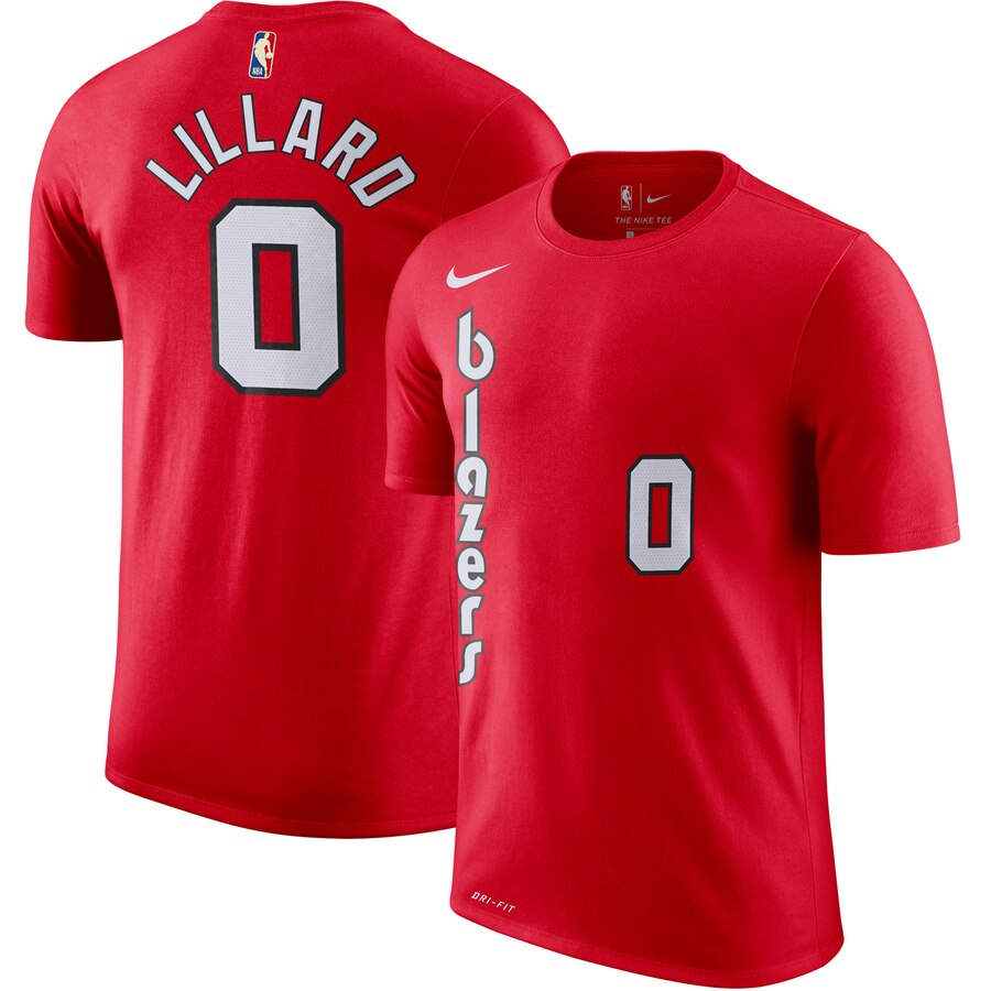 Portland Trail Blazers #0 Damian Lillard Nike Hardwood Classic Name & Number T-Shirt Red