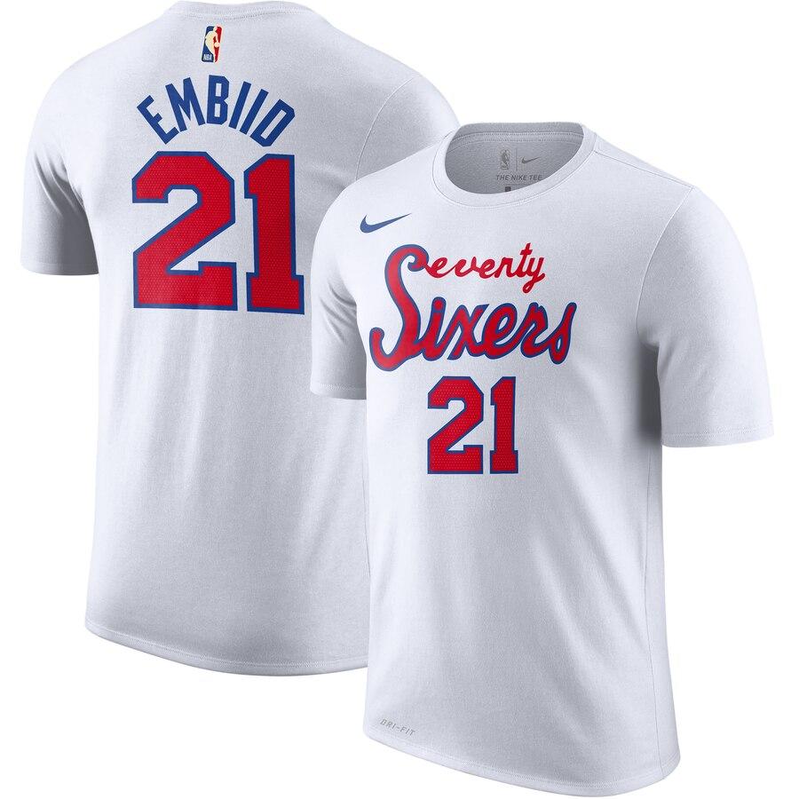 Philadelphia 76ers #21 Joel Embiid Nike Hardwood Classic Name & Number T-Shirt White