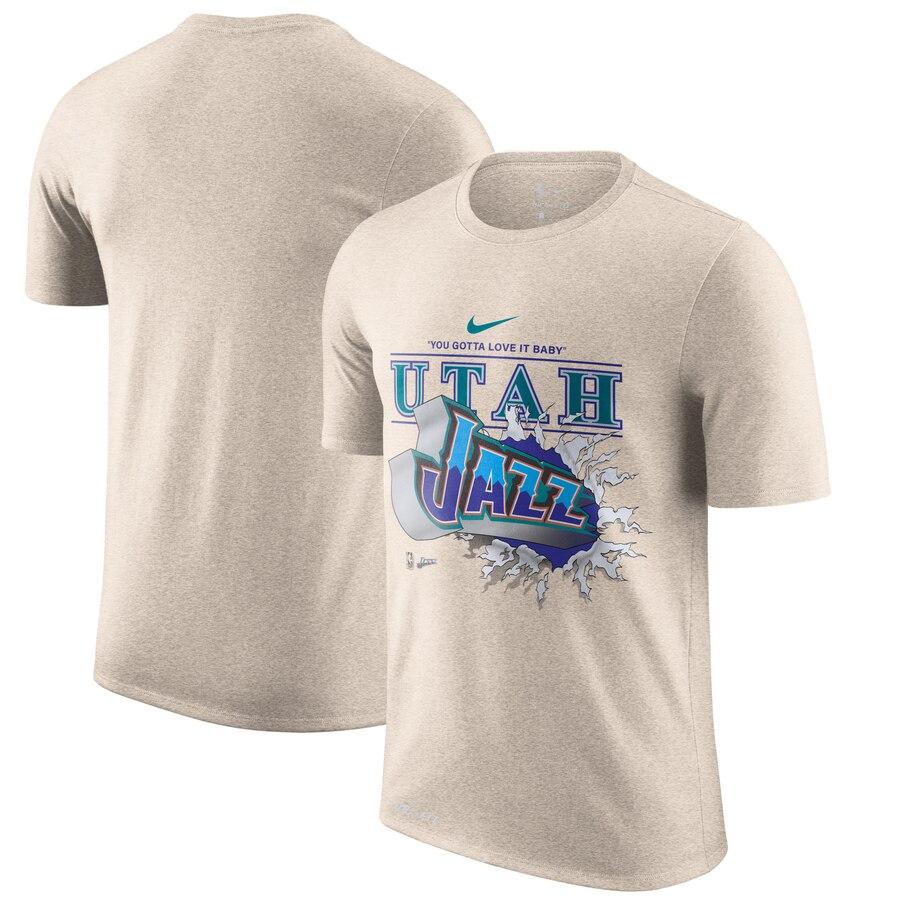 Utah Jazz Nike Hardwood Classics Hometown Vintage T-Shirt Tan