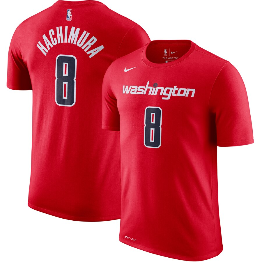 Washington Wizards #8 Rui Hachimura Nike Icon Name & Number Performance T-Shirt Red