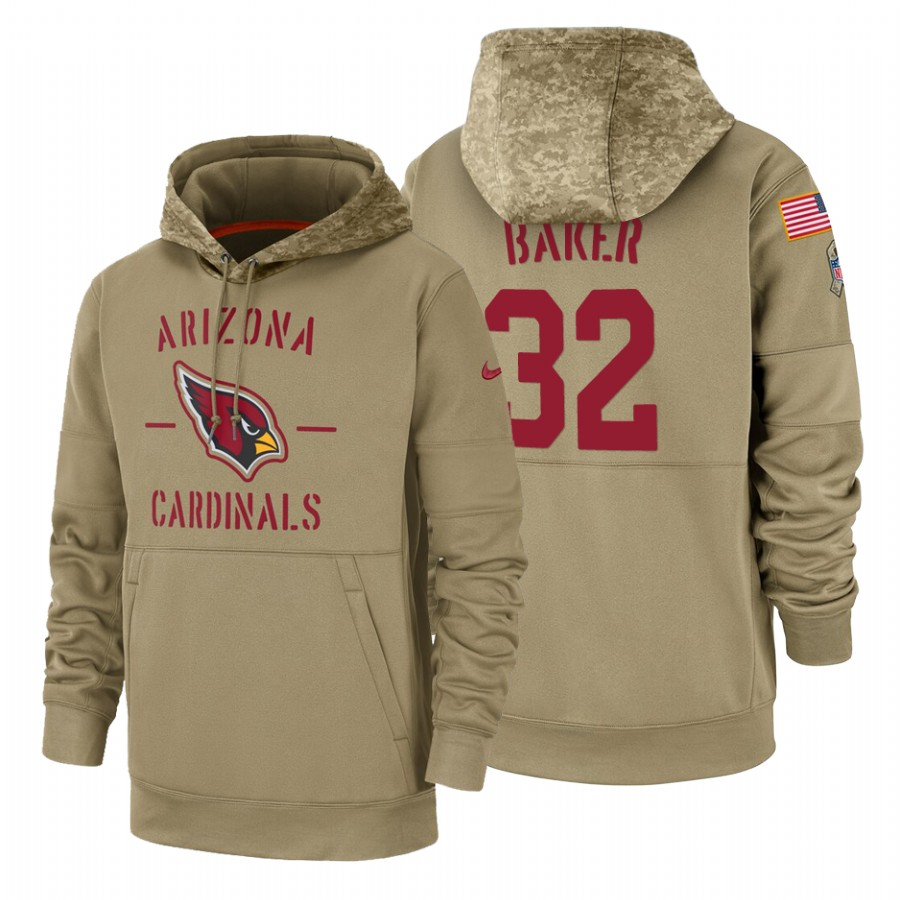 Arizona Cardinals #32 Budda Baker Nike Tan 2019 Salute To Service Name & Number Sideline Therma Pullover Hoodie