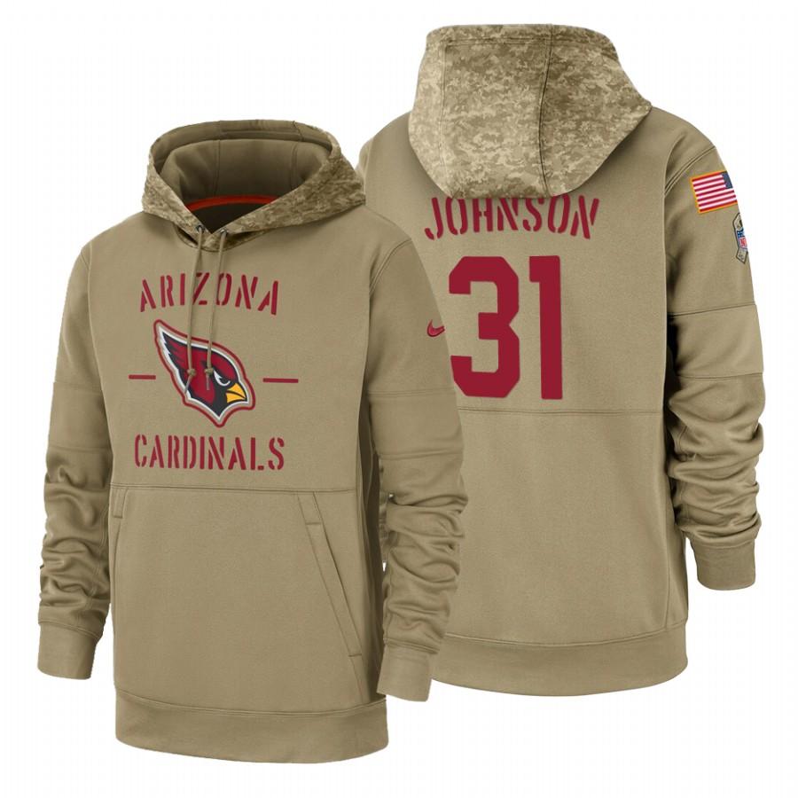 Arizona Cardinals #31 David Johnson Nike Tan 2019 Salute To Service Name & Number Sideline Therma Pullover Hoodie